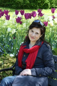 Woman in botanical garden at spring