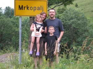 Jennifer Wilson and family in her ancestral hometown